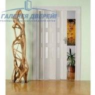 Раздвижная пластиковая дверь (гармошка), ПО белый глянец
