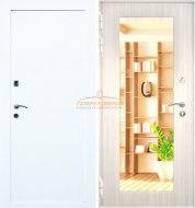 Входная дверь Кондор X5 белая шагрень/белый сандал с зеркалом