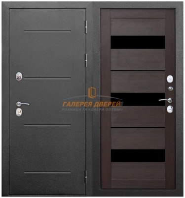 Металлическая дверь Isoterma серебро темный кипарис