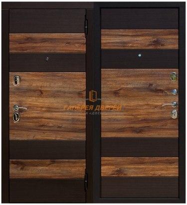 Металлическая дверь Оксфорд Венге темный/Дуб бомонд лофт