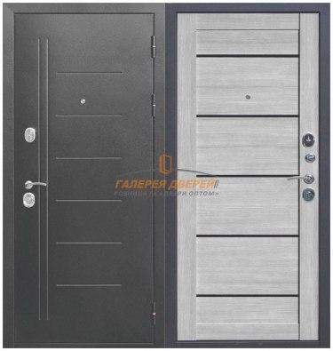 Металлическая дверь Троя серебро дымчатый дуб