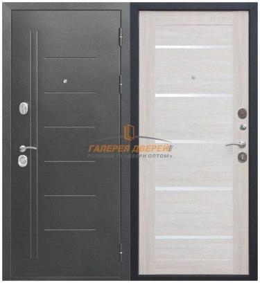 Металлическая дверь Троя серебро лиственница беж