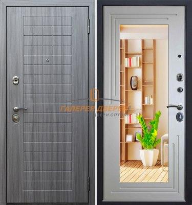 Входная дверь Стандарт S7 серый сандал с зеркалом