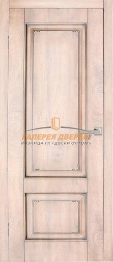 Дверь Квадро 18 ПГ Срез дуба коричневый Патина коричневая