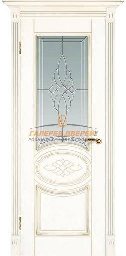Дверь Муза ПО Белый основной Патина Золото